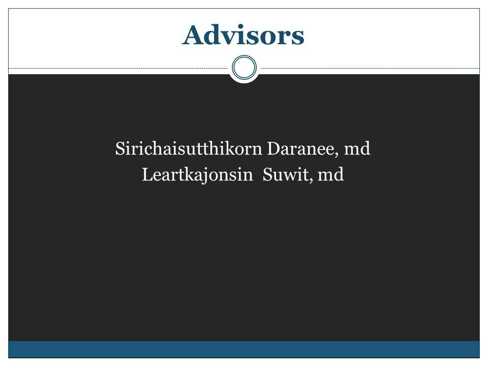 Advisors Sirichaisutthikorn Daranee, md Leartkajonsin Suwit, md