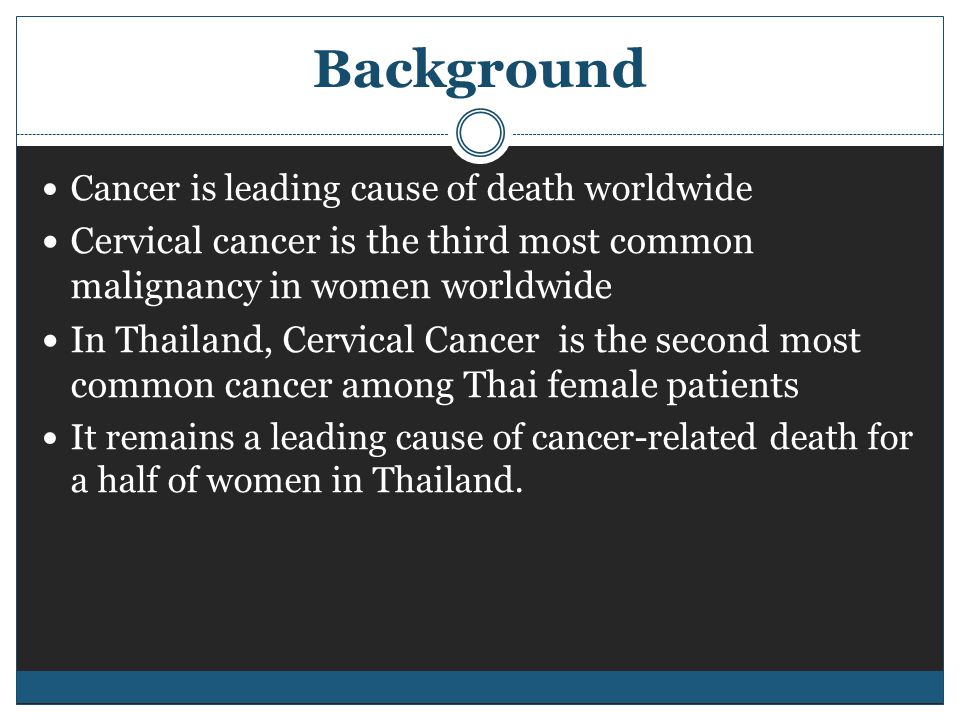 Background Cancer is leading cause of death worldwide Cervical cancer is the third most common malignancy in women worldwide In Thailand, Cervical Cancer is the second most common cancer among Thai female patients It remains a leading cause of cancer-related death for a half of women in Thailand.