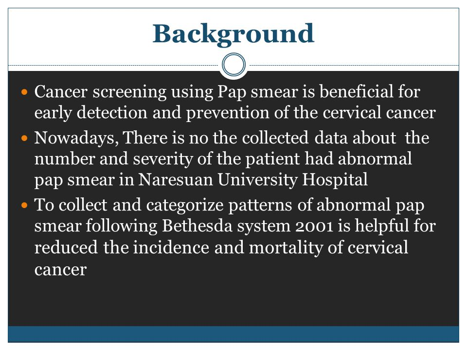 Background Cancer screening using Pap smear is beneficial for early detection and prevention of the cervical cancer Nowadays, There is no the collected data about the number and severity of the patient had abnormal pap smear in Naresuan University Hospital To collect and categorize patterns of abnormal pap smear following Bethesda system 2001 is helpful for reduced the incidence and mortality of cervical cancer