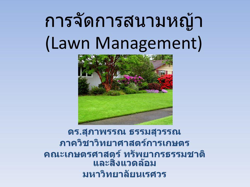 การจัดการสนามหญ้า (Lawn Management) ดร. สุภาพรรณ ธรรมสุวรรณ ภาควิชาวิทยาศาสตร์การเกษตร คณะเกษตรศาสตร์ ทรัพยากรธรรมชาติ และสิ่งแวดล้อม มหาวิทยาลัยนเรศว