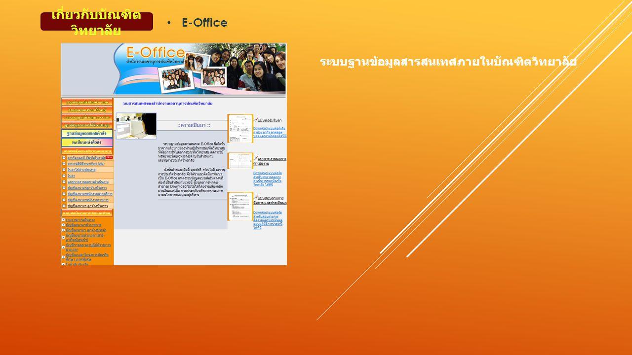 เกี่ยวกับบัณฑิต วิทยาลัย ระบบฐานข้อมูลสารสนเทศภายในบัณฑิตวิทยาลัย E-Office