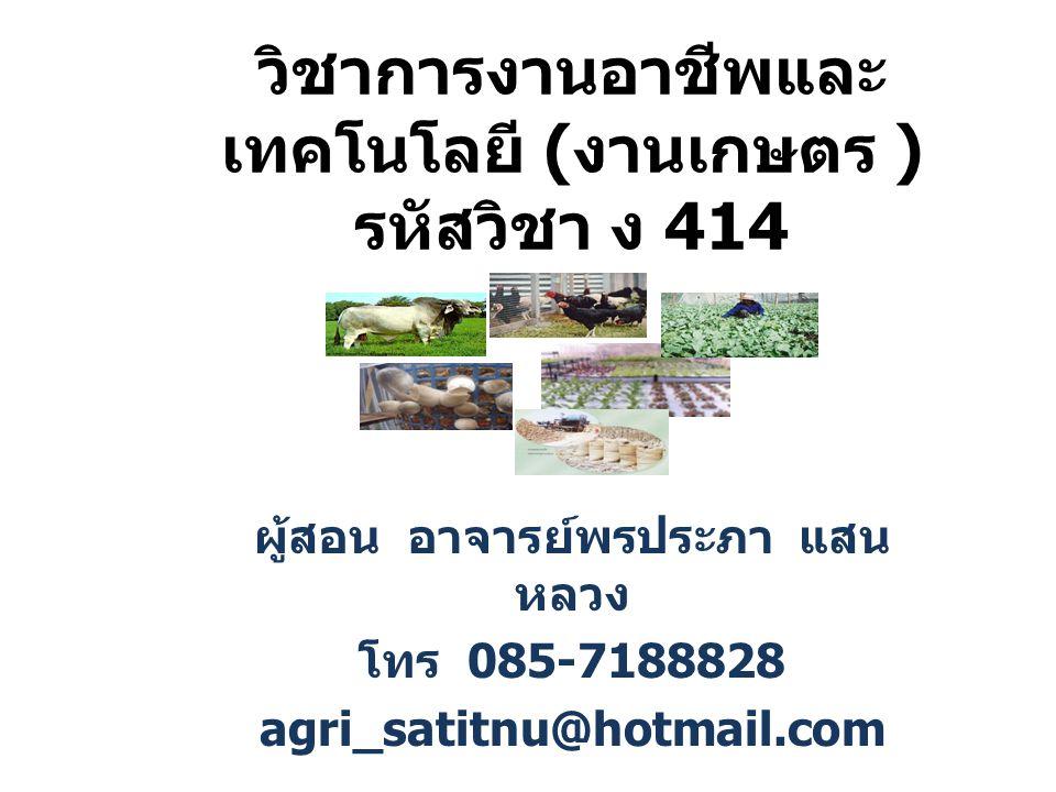 วิชาการงานอาชีพและ เทคโนโลยี ( งานเกษตร ) รหัสวิชา ง 414 ผู้สอน อาจารย์พรประภา แสน หลวง โทร 085-7188828 agri_satitnu@hotmail.com
