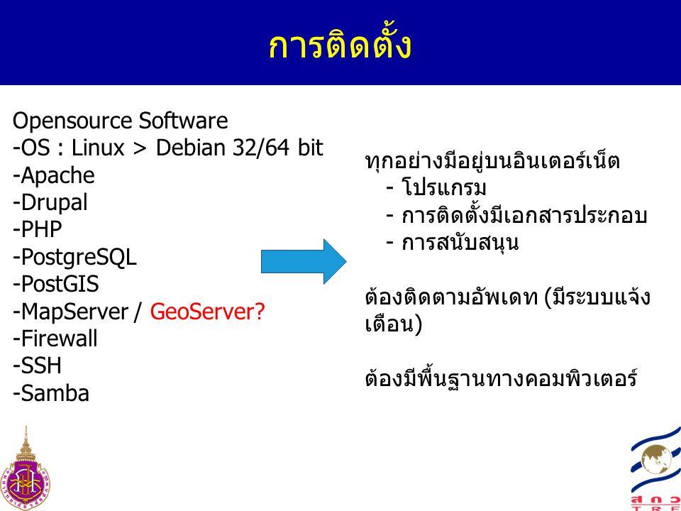 การติดตั้ง Opensource Software -OS : Linux > Debian 32/64 bit -Apache -Drupal -PHP -PostgreSQL -PostGIS -MapServer / GeoServer? -Firewall -SSH -Samba