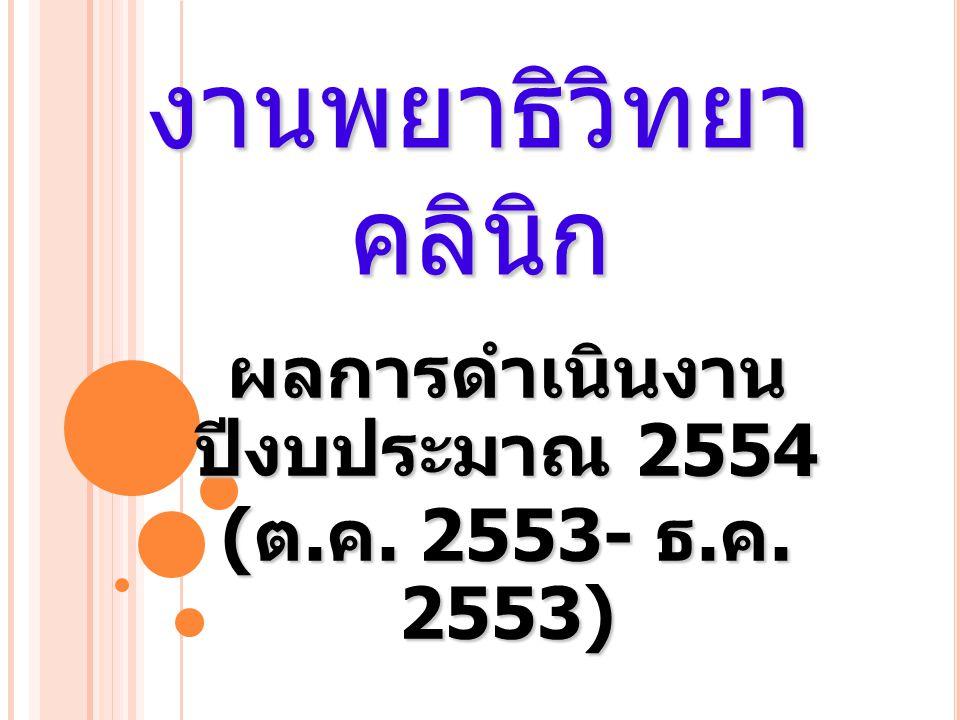 งานพยาธิวิทยา คลินิก ผลการดำเนินงาน ปีงบประมาณ 2554 ( ต. ค. 2553- ธ. ค. 2553)