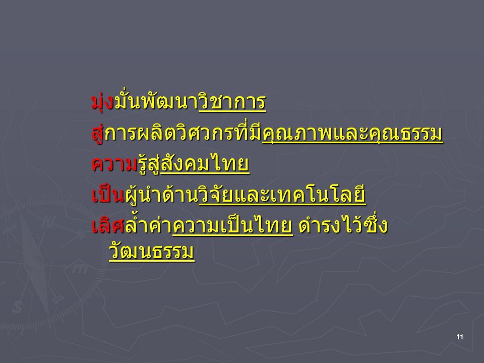 11 มุ่งมั่นพัฒนาวิชาการ สู่การผลิตวิศวกรที่มีคุณภาพและคุณธรรม ความรู้สู่สังคมไทย เป็นผู้นำด้านวิจัยและเทคโนโลยี เลิศล้ำค่าความเป็นไทย ดำรงไว้ซึ่ง วัฒน