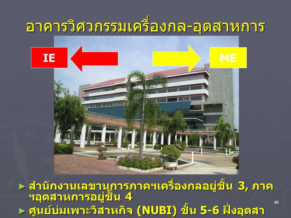 40 อาคารวิศวกรรมเครื่องกล - อุตสาหการ ► สำนักงานเลขานุการภาคฯเครื่องกลอยู่ชั้น 3, ภาค ฯอุตสาหการอยู่ชั้น 4 ► ศูนย์บ่มเพาะวิสาหกิจ (NUBI) ชั้น 5-6 ฝั่ง