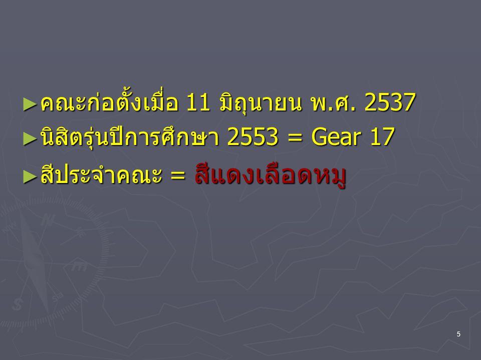 5 ► คณะก่อตั้งเมื่อ 11 มิถุนายน พ.ศ. 2537 ► นิสิตรุ่นปีการศึกษา 2553 = Gear 17 ► สีประจำคณะ = สีแดงเลือดหมู