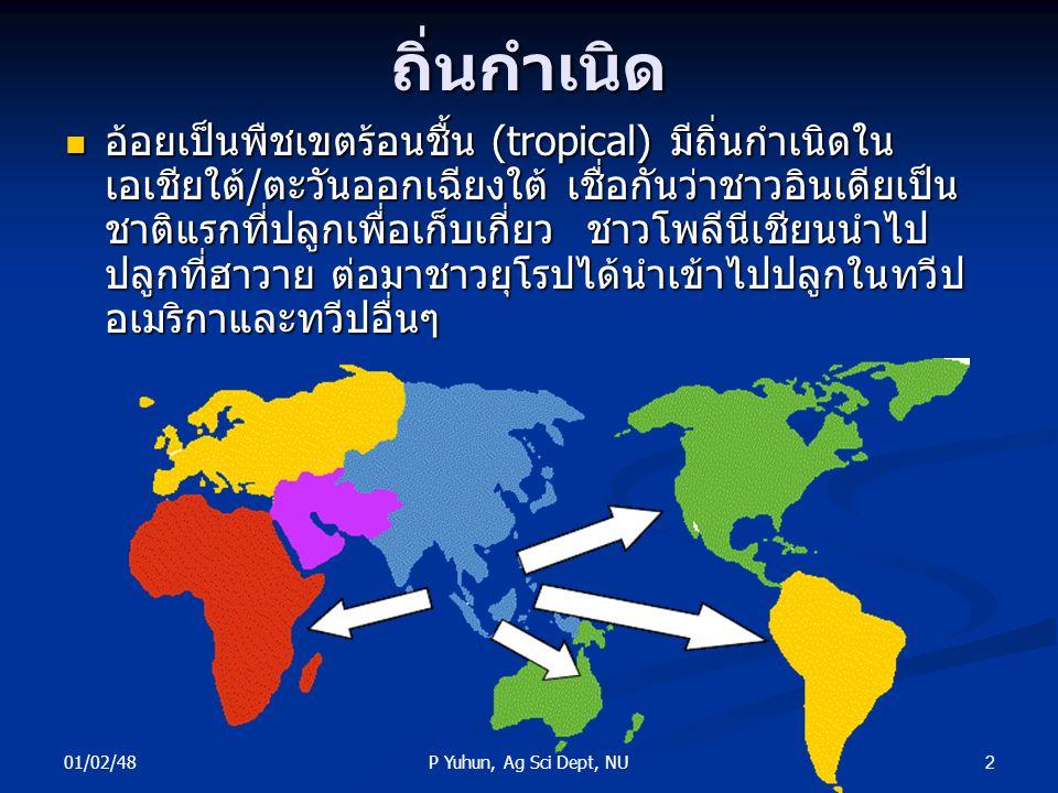 01/02/48 2P Yuhun, Ag Sci Dept, NUถิ่นกำเนิด อ้อยเป็นพืชเขตร้อนชื้น (tropical) มีถิ่นกำเนิดใน เอเชียใต้/ตะวันออกเฉียงใต้ เชื่อกันว่าชาวอินเดียเป็น ชาต