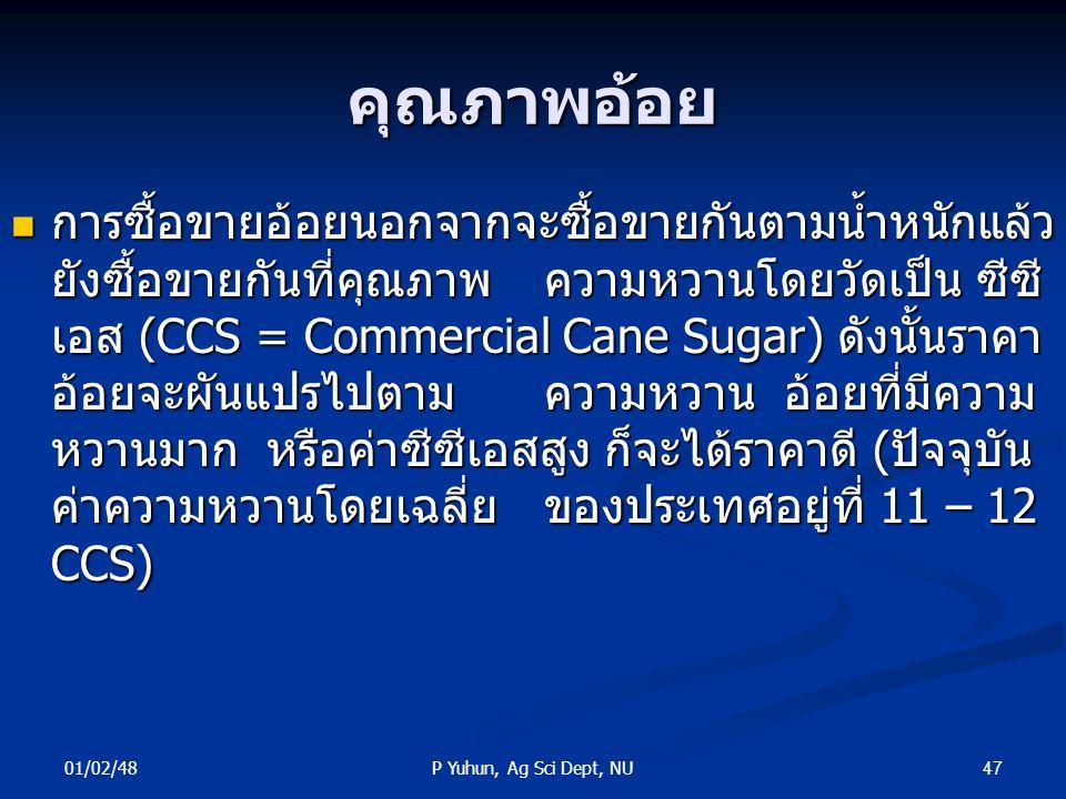 01/02/48 47P Yuhun, Ag Sci Dept, NU คุณภาพอ้อย การซื้อขายอ้อยนอกจากจะซื้อขายกันตามน้ำหนักแล้ว ยังซื้อขายกันที่คุณภาพความหวานโดยวัดเป็น ซีซี เอส (CCS =