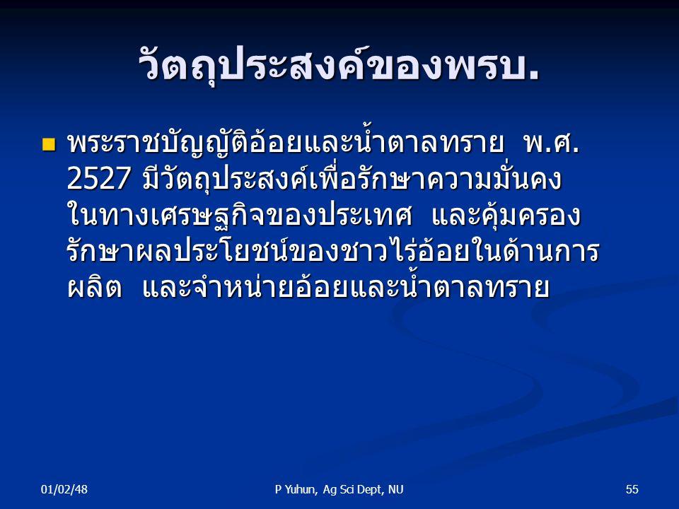 01/02/48 55P Yuhun, Ag Sci Dept, NU วัตถุประสงค์ของพรบ. พระราชบัญญัติอ้อยและน้ำตาลทราย พ.ศ. 2527 มีวัตถุประสงค์เพื่อรักษาความมั่นคง ในทางเศรษฐกิจของปร