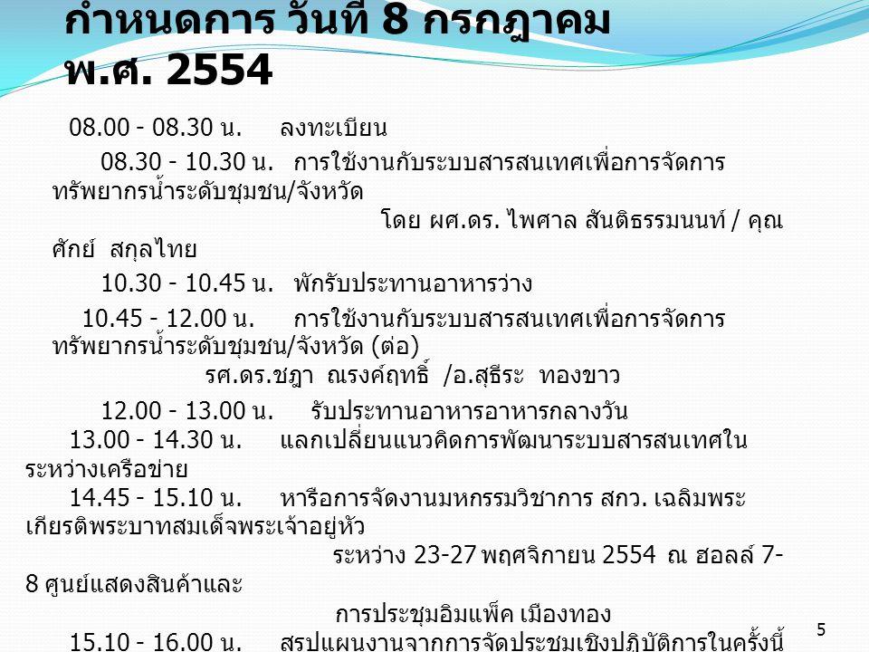 กำหนดการ วันที่ 8 กรกฎาคม พ. ศ. 2554 08.00 - 08.30 น. ลงทะเบียน 08.30 - 10.30 น. การใช้งานกับระบบสารสนเทศเพื่อการจัดการ ทรัพยากรน้ำระดับชุมชน / จังหวั