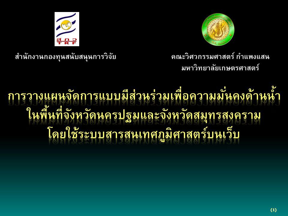 (1) สำนักงานกองทุนสนับสนุนการวิจัย คณะวิศวกรรมศาสตร์ กำแพงแสน มหาวิทยาลัยเกษตรศาสตร์