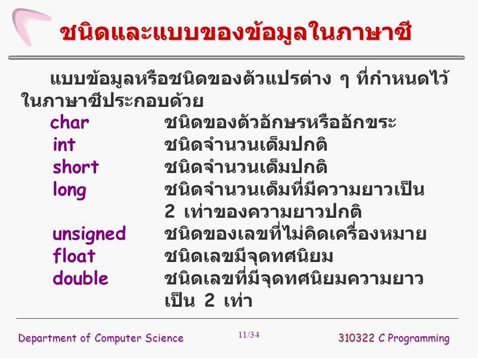 11/34 แบบข้อมูลหรือชนิดของตัวแปรต่าง ๆ ที่กำหนดไว้ ในภาษาซีประกอบด้วย char ชนิดของตัวอักษรหรืออักขระ int ชนิดจำนวนเต็มปกติ short ชนิดจำนวนเต็มปกติ lon