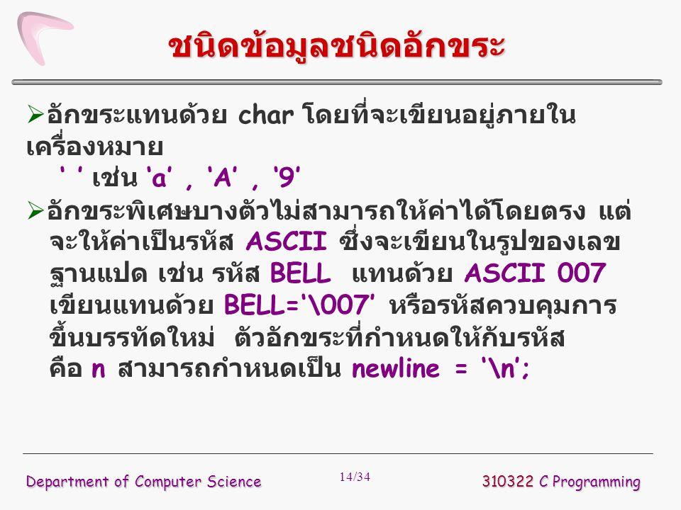 14/34  อักขระแทนด้วย char โดยที่จะเขียนอยู่ภายใน เครื่องหมาย ' ' เช่น 'a', 'A', '9'  อักขระพิเศษบางตัวไม่สามารถให้ค่าได้โดยตรง แต่ จะให้ค่าเป็นรหัส