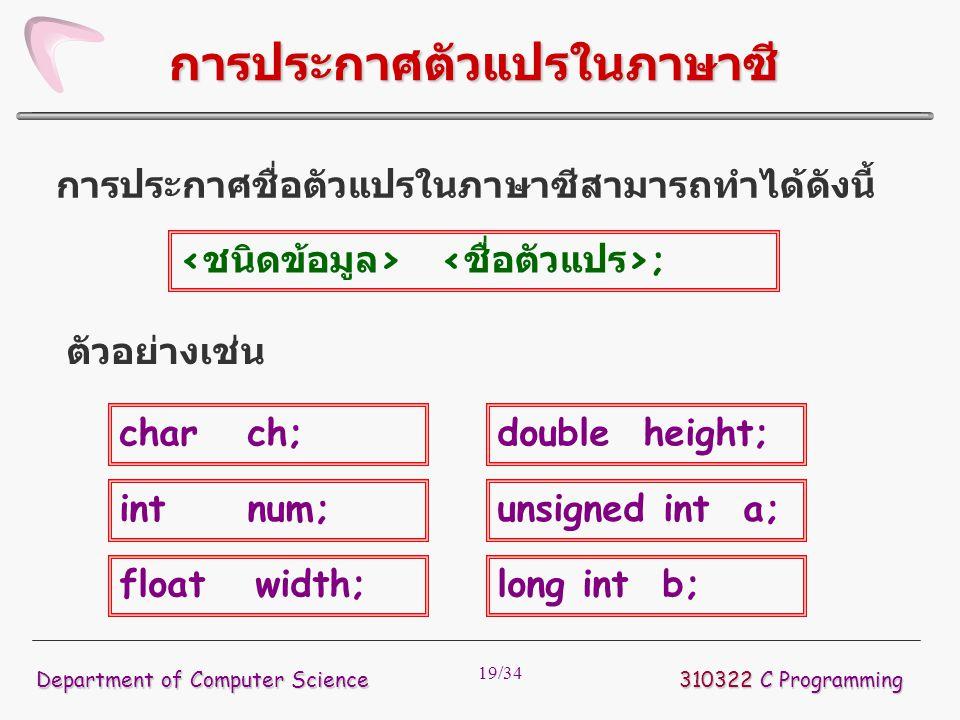19/34 การประกาศชื่อตัวแปรในภาษาซีสามารถทำได้ดังนี้ 310322 C Programming Department of Computer Science การประกาศตัวแปรในภาษาซี ; ตัวอย่างเช่น char ch;