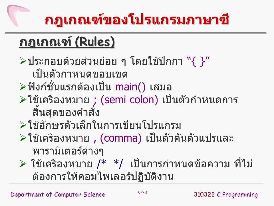 """9/34 กฎเกณฑ์ของโปรแกรมภาษาซี  ประกอบด้วยส่วนย่อย ๆ โดยใช้ปีกกา """"{ }"""" เป็นตัวกำหนดขอบเขต  ฟังก์ชั่นแรกต้องเป็น main() เสมอ  ใช้เครื่องหมาย ; (semi c"""