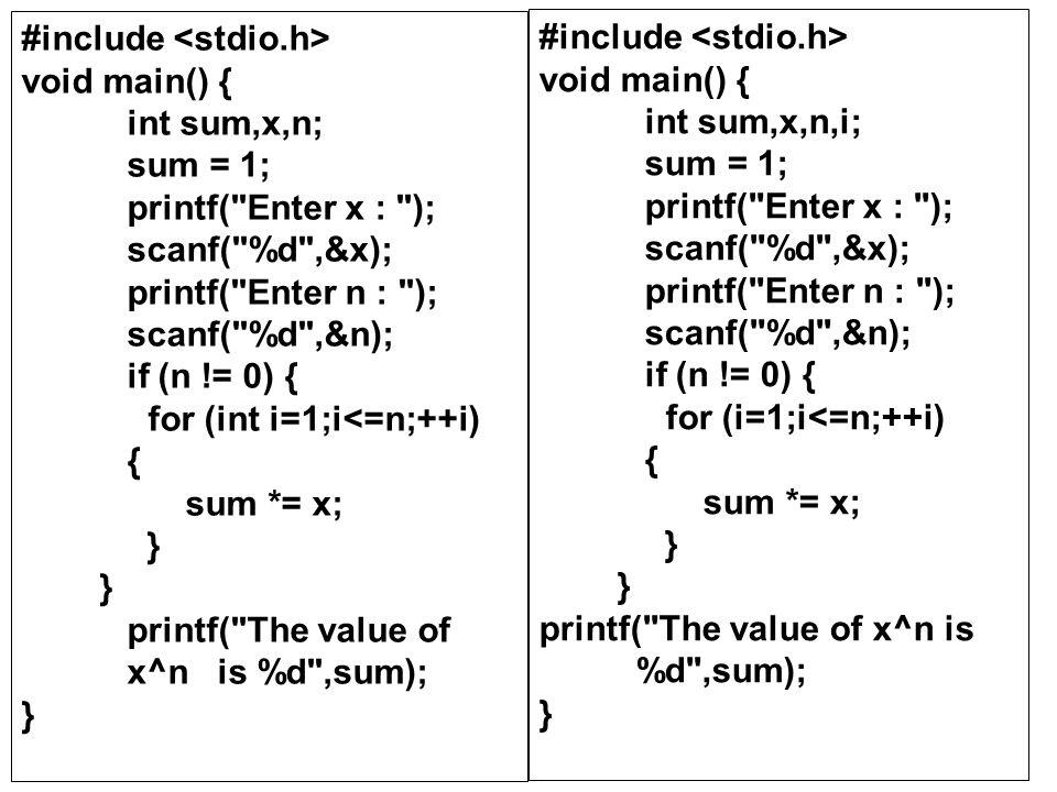#include void main() { int sum,x,n; sum = 1; printf(