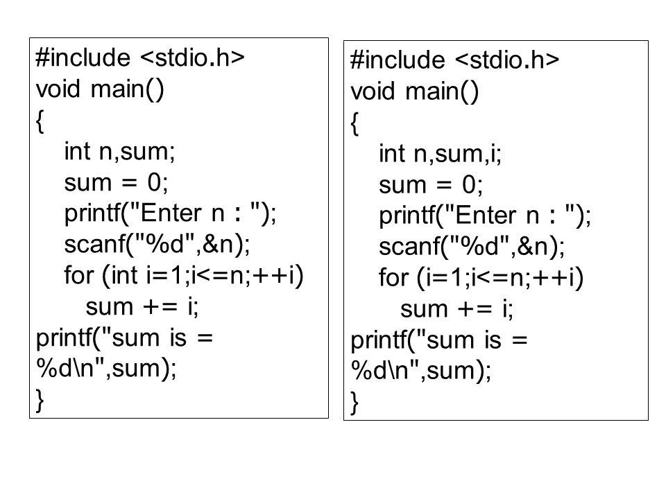 #include void main() { int n,sum; sum = 0; printf(