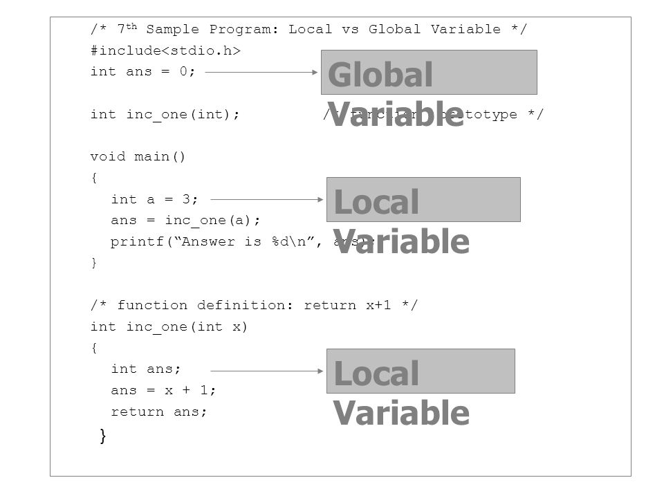 /* 7 th Sample Program: Local vs Global Variable */ #include int ans = 0; int inc_one(int);/* function prototype */ void main() { int a = 3; ans = inc