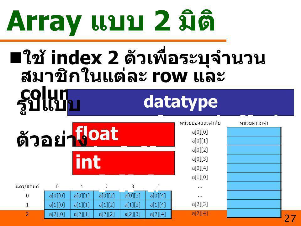 Array แบบ 2 มิติ ใช้ index 2 ตัวเพื่อระบุจำนวน สมาชิกในแต่ละ row และ column 27 datatype varname[row_size][col_ size]; รูปแบบ float day[7][4 ]; ตัวอย่า