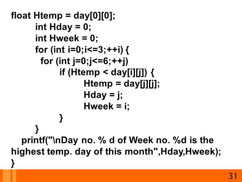 31 float Htemp = day[0][0]; int Hday = 0; int Hweek = 0; for (int i=0;i<=3;++i) { for (int j=0;j<=6;++j) if (Htemp < day[i][j]) { Htemp = day[j][j]; H
