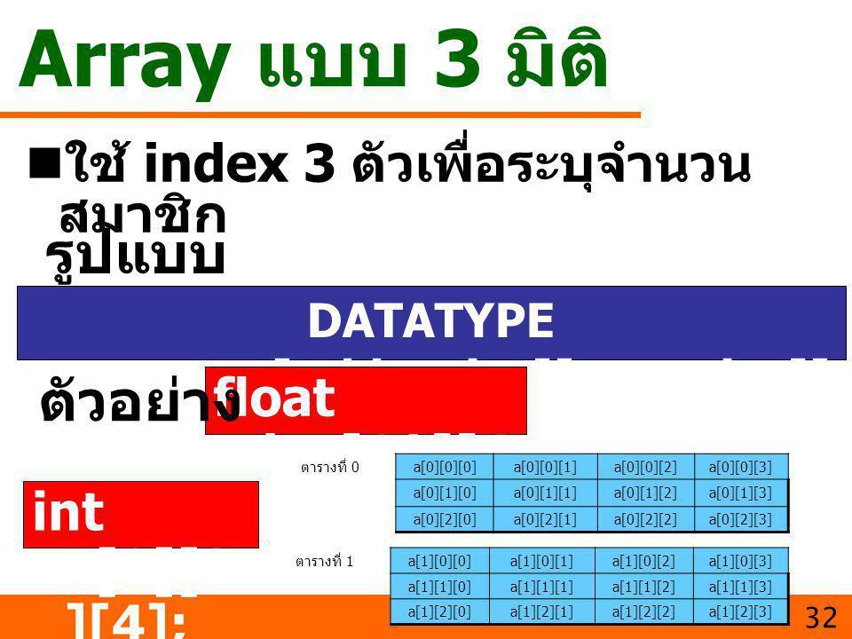 Array แบบ 3 มิติ ใช้ index 3 ตัวเพื่อระบุจำนวน สมาชิก 32 DATATYPE varname[table_size][row_size][ col_size]; รูปแบบ float day[12][4 ][7]; ตัวอย่าง ตารา