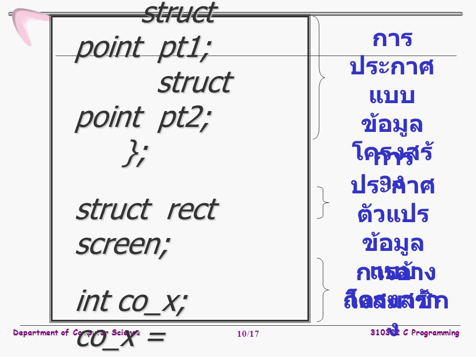 Department of Computer Science310322 C Programming 10/17 struct rect { struct point pt1; struct point pt2; }; struct rect screen; int co_x; co_x = scr