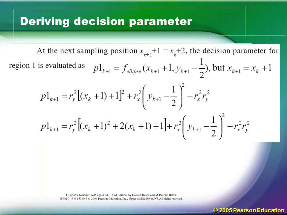 © 2005 Pearson Education Deriving decision parameter