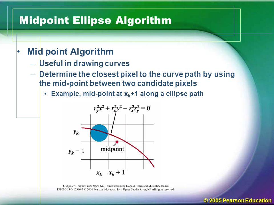 © 2005 Pearson Education Midpoint Ellipse Algorithm Mid point Algorithm –Useful in drawing curves –Determine the closest pixel to the curve path by us