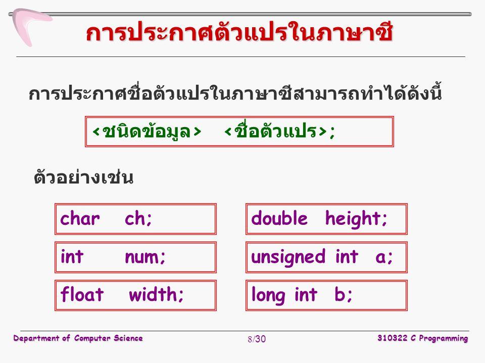 Department of Computer Science310322 C Programming 8/30 การประกาศชื่อตัวแปรในภาษาซีสามารถทำได้ดังนี้ การประกาศตัวแปรในภาษาซี ; ตัวอย่างเช่น char ch; i