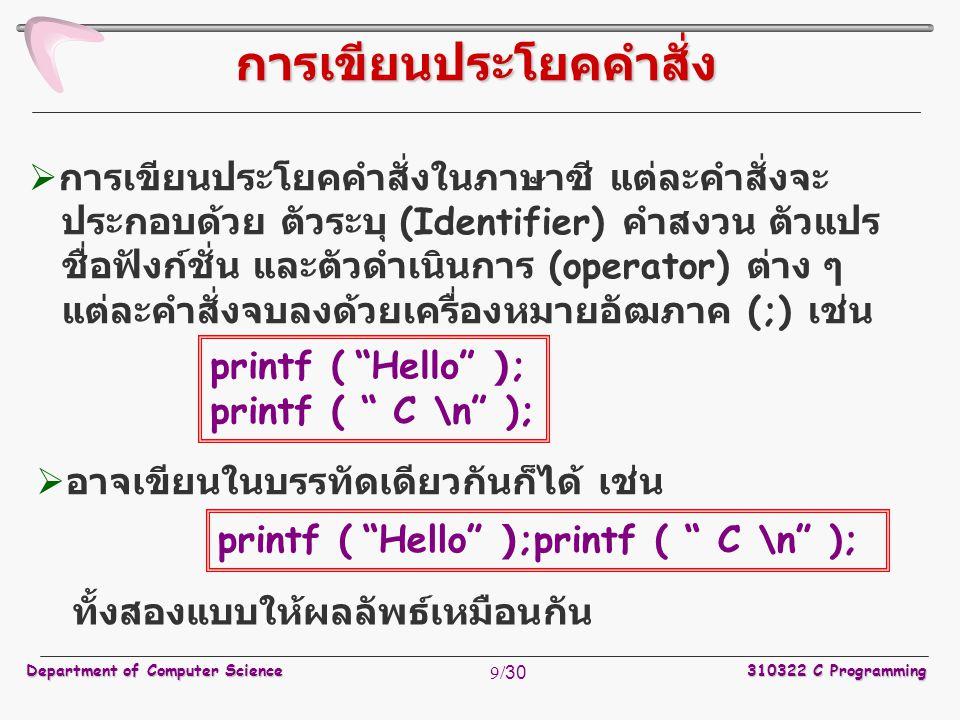 Department of Computer Science310322 C Programming 9/30  การเขียนประโยคคำสั่งในภาษาซี แต่ละคำสั่งจะ ประกอบด้วย ตัวระบุ (Identifier) คำสงวน ตัวแปร ชื่
