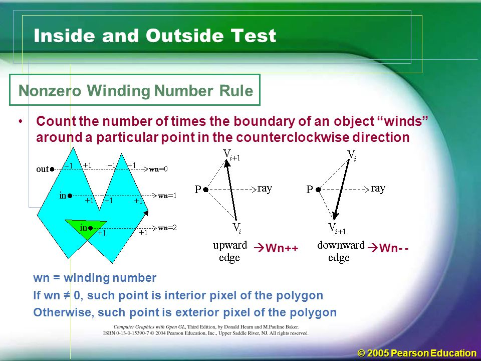"© 2005 Pearson Education Inside and Outside Test Nonzero Winding Number Rule Count the number of times the boundary of an object ""winds"" around a part"