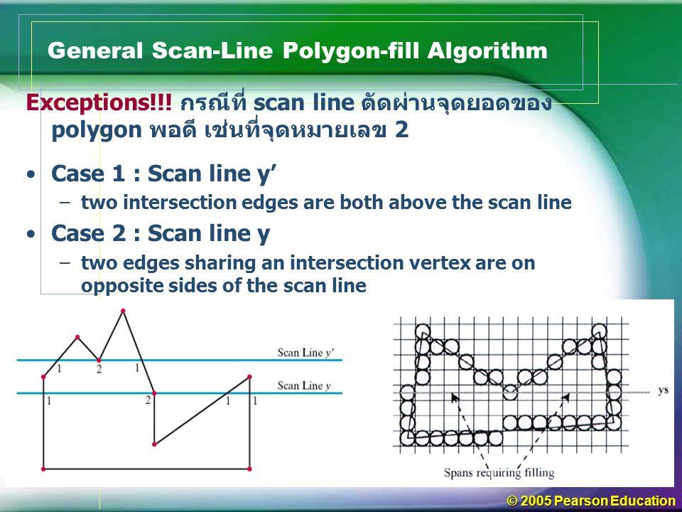 © 2005 Pearson Education General Scan-Line Polygon-fill Algorithm Exceptions!!! กรณีที่ scan line ตัดผ่านจุดยอดของ polygon พอดี เช่นที่จุดหมายเลข 2 Ca