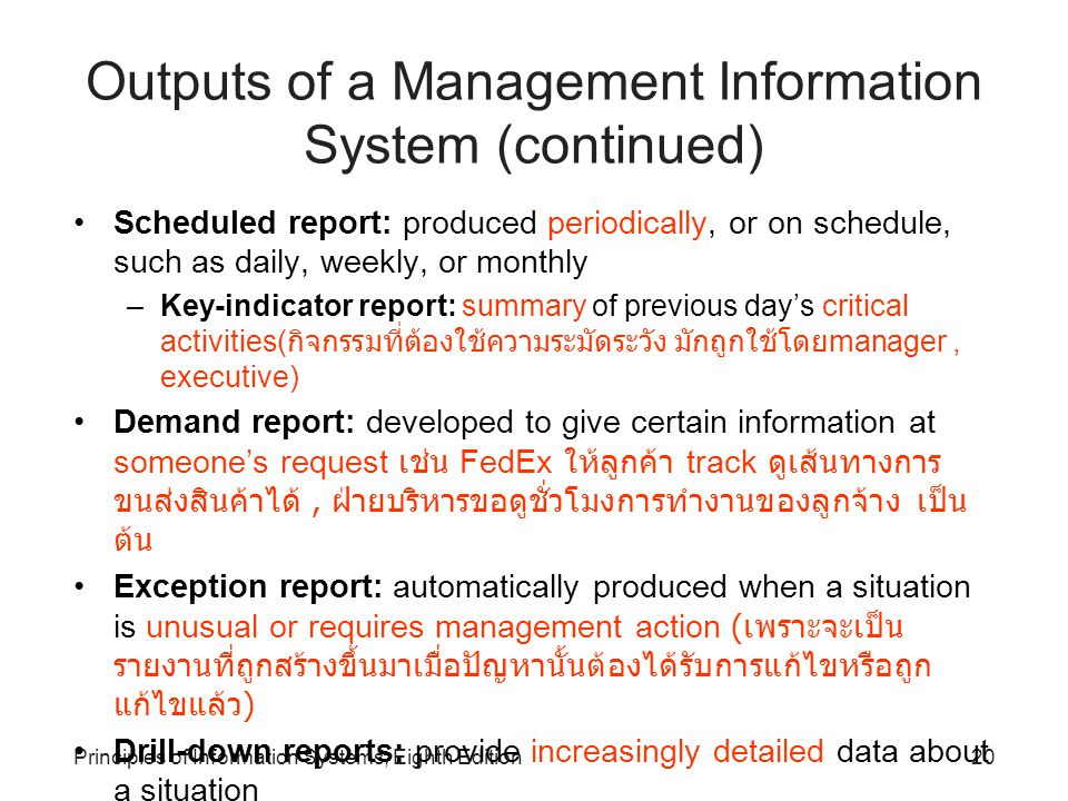20Principles of Information Systems, Eighth Edition Outputs of a Management Information System (continued) Scheduled report: produced periodically, or