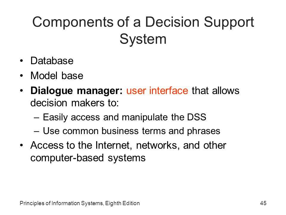 45Principles of Information Systems, Eighth Edition Components of a Decision Support System Database Model base Dialogue manager: user interface that