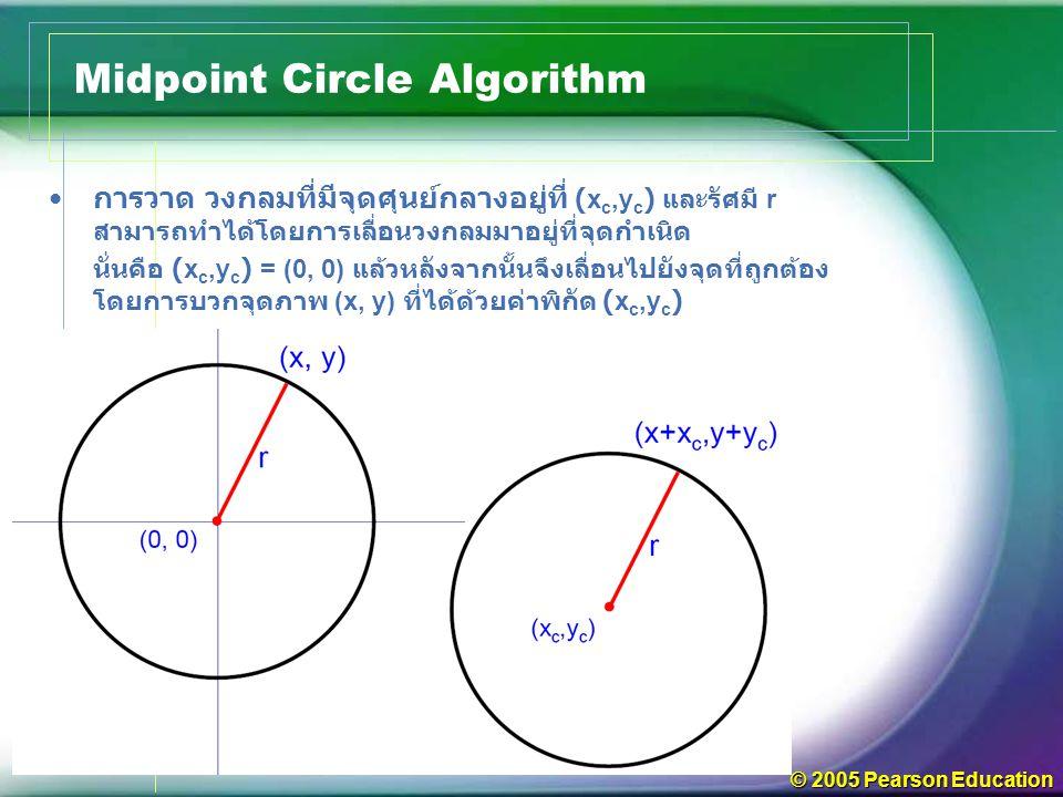© 2005 Pearson Education การวาด วงกลมที่มีจุดศุนย์กลางอยู่ที่ (x c,y c ) และรัศมี r สามารถทำได้โดยการเลื่อนวงกลมมาอยู่ที่จุดกำเนิด นั่นคือ (x c,y c ) = (0, 0) แล้วหลังจากนั้นจึงเลื่อนไปยังจุดที่ถูกต้อง โดยการบวกจุดภาพ (x, y) ที่ได้ด้วยค่าพิกัด (x c,y c ) Midpoint Circle Algorithm
