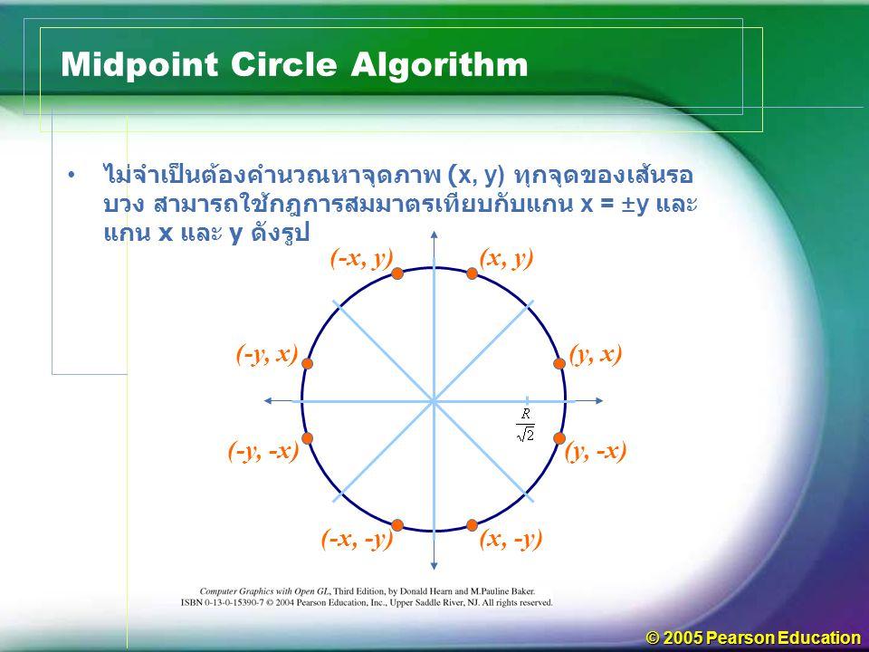 © 2005 Pearson Education ไม่จำเป็นต้องคำนวณหาจุดภาพ (x, y) ทุกจุดของเส้นรอ บวง สามารถใช้กฎการสมมาตรเทียบกับแกน x = ±y และ แกน x และ y ดังรูป Midpoint Circle Algorithm (x, y) (y, x) (y, -x) (x, -y)(-x, -y) (-y, -x) (-y, x) (-x, y)