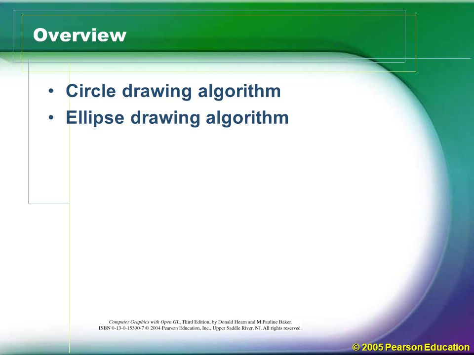 © 2005 Pearson Education Circle Drawing Algorithm Square Root Method Trigonometric Function Midpoint Circle Algorithm