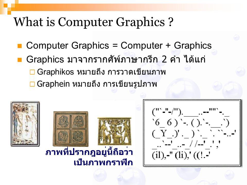 What is Computer Graphics ? Computer Graphics = Computer + Graphics Graphics มาจากรากศัพ์ภาษากรีก 2 คำ ได้แก่  Graphikos หมายถึง การวาดเขียนภาพ  Gra