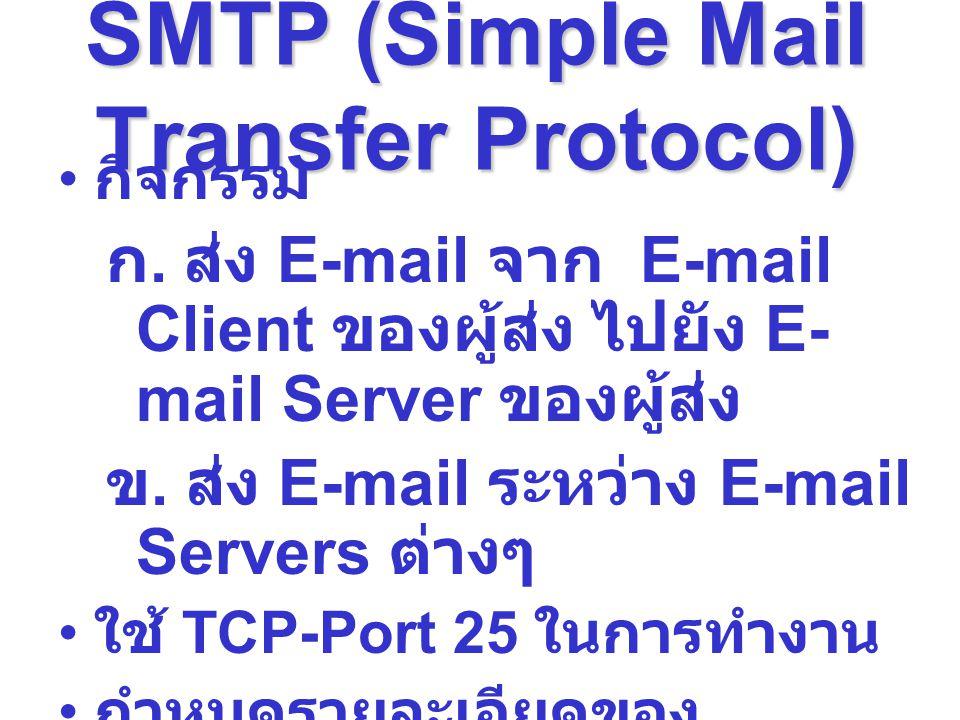 SMTP (Simple Mail Transfer Protocol) กิจกรรม ก. ส่ง E-mail จาก E-mail Client ของผู้ส่ง ไปยัง E- mail Server ของผู้ส่ง ข. ส่ง E-mail ระหว่าง E-mail Ser