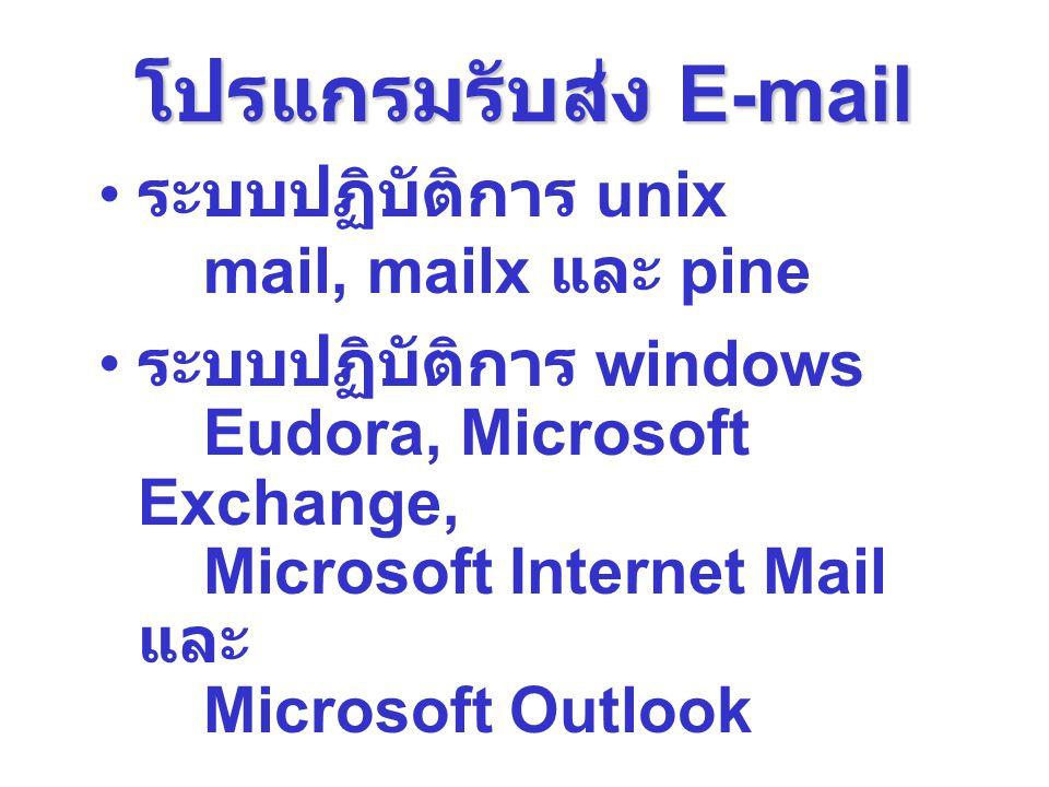 โปรแกรมรับส่ง E-mail ระบบปฏิบัติการ unix mail, mailx และ pine ระบบปฏิบัติการ windows Eudora, Microsoft Exchange, Microsoft Internet Mail และ Microsoft
