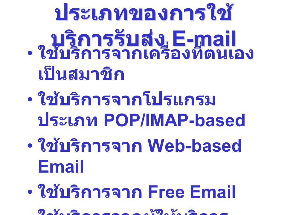 ประเภทของการใช้ บริการรับส่ง E-mail ใช้บริการจากเครื่องที่ตนเอง เป็นสมาชิก ใช้บริการจากโปรแกรม ประเภท POP/IMAP-based ใช้บริการจาก Web-based Email ใช้บ