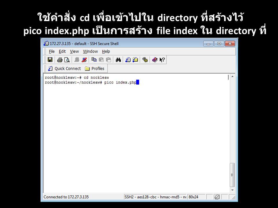 ใช้คำสั่ง cd เพื่อเข้าไปใน directory ที่สร้างไว้ pico index.php เป็นการสร้าง file index ใน directory ที่ สร้างไว้