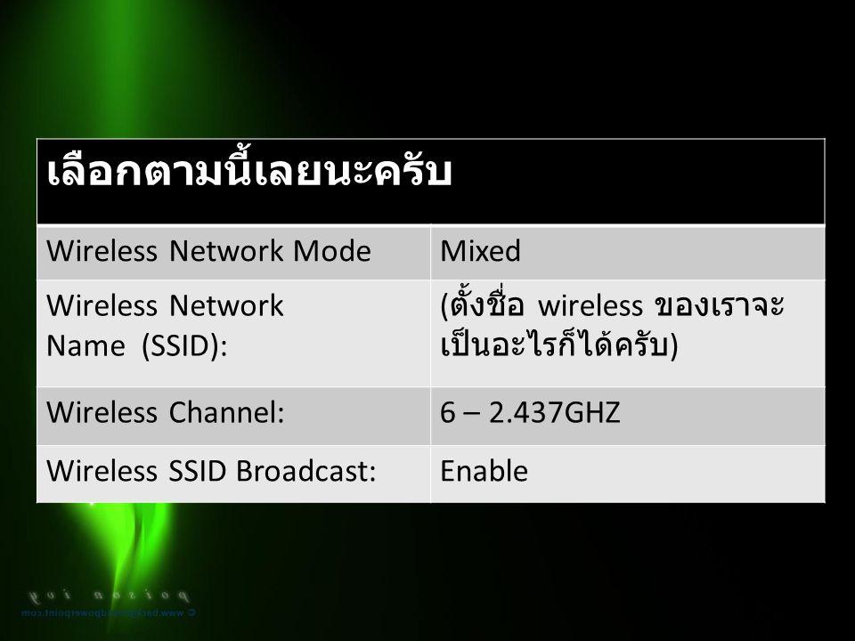 เลือกตามนี้เลยนะครับ Wireless Network ModeMixed Wireless Network Name (SSID): ( ตั้งชื่อ wireless ของเราจะ เป็นอะไรก็ได้ครับ ) Wireless Channel:6 – 2.