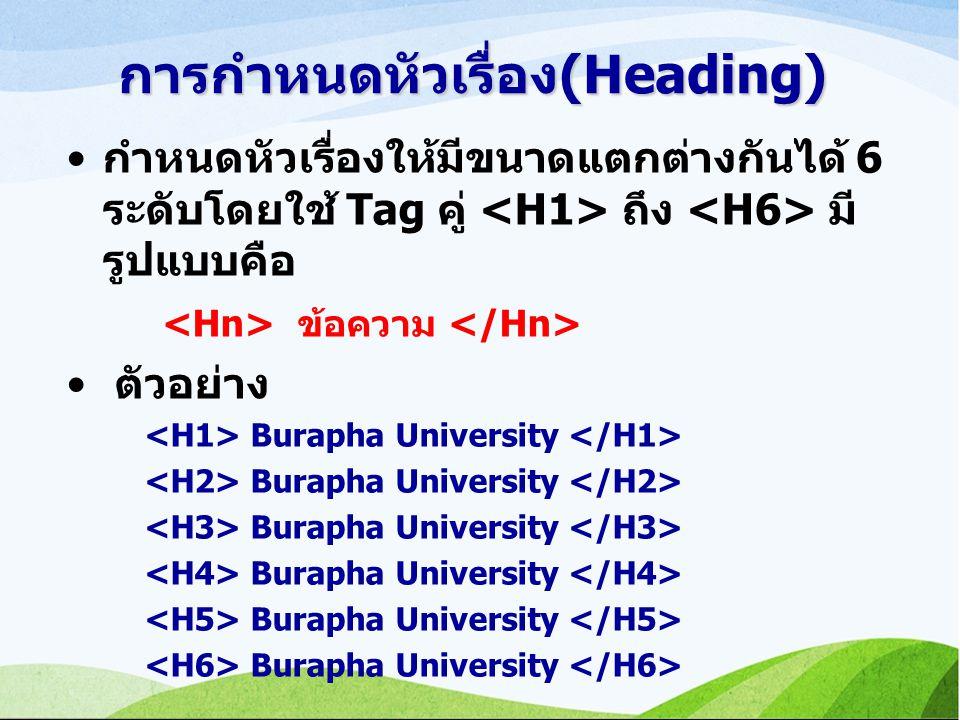 การกำหนดหัวเรื่อง(Heading) กำหนดหัวเรื่องให้มีขนาดแตกต่างกันได้ 6 ระดับโดยใช้ Tag คู่ ถึง มี รูปแบบคือ ข้อความ ตัวอย่าง Burapha University