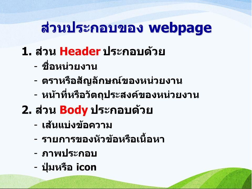 ส่วนประกอบของ webpage 1.