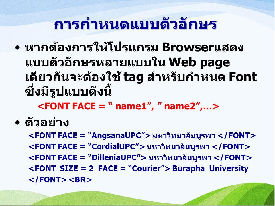 การกำหนดแบบตัวอักษร หากต้องการให้โปรแกรม Browserแสดง แบบตัวอักษรหลายแบบใน Web page เดียวกันจะต้องใช้ tag สำหรับกำหนด Font ซึ่งมีรูปแบบดังนี้ ตัวอย่าง มหาวิทยาลัยบูรพา Burapha University