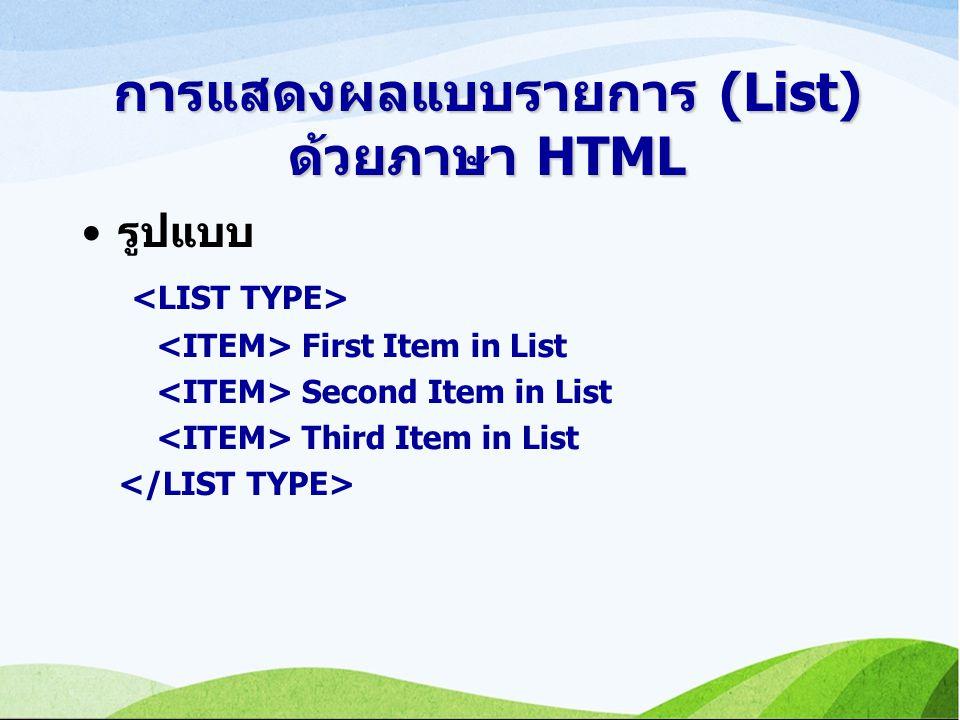 การแสดงผลแบบรายการ (List) ด้วยภาษา HTML รูปแบบ First Item in List Second Item in List Third Item in List