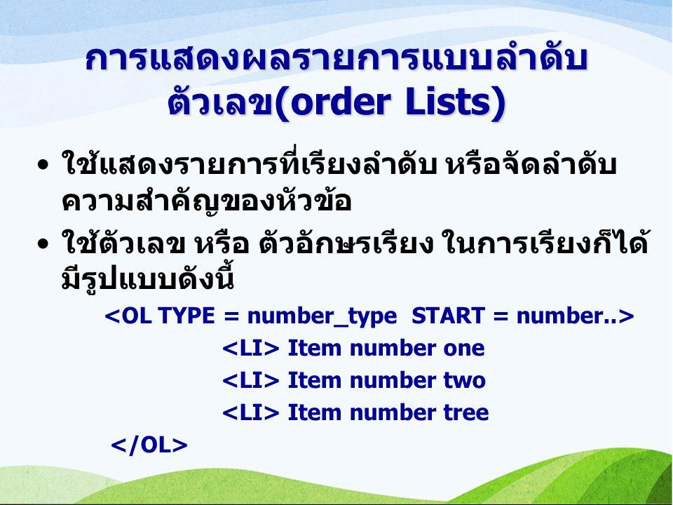 การแสดงผลรายการแบบลำดับ ตัวเลข(order Lists) ใช้แสดงรายการที่เรียงลำดับ หรือจัดลำดับ ความสำคัญของหัวข้อ ใช้ตัวเลข หรือ ตัวอักษรเรียง ในการเรียงก็ได้ มีรูปแบบดังนี้ Item number one Item number two Item number tree