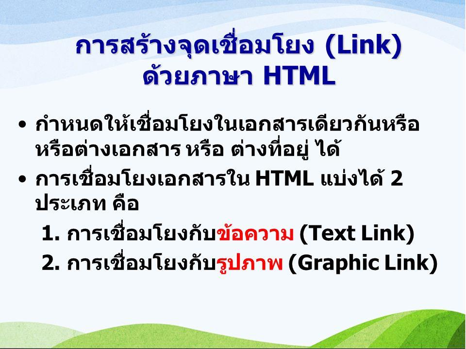 การสร้างจุดเชื่อมโยง (Link) ด้วยภาษา HTML กำหนดให้เชื่อมโยงในเอกสารเดียวกันหรือ หรือต่างเอกสาร หรือ ต่างที่อยู่ ได้ การเชื่อมโยงเอกสารใน HTML แบ่งได้ 2 ประเภท คือ 1.